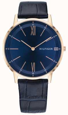 Tommy Hilfiger 男士库珀表蓝色皮革表带玫瑰金色调表壳 1791515