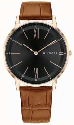 Tommy Hilfiger 男士库珀棕色皮革黑色表盘表带精钢表壳 1791516