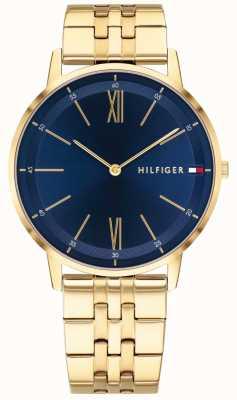 Tommy Hilfiger 男士库珀手表金色手镯蓝色表盘 1791513