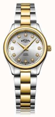 Rotary 女士牛津女士钻石双色手镯表 LB05093/44/D