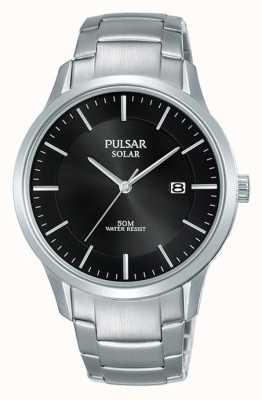 Pulsar 男士不锈钢表壳和手链太阳能黑色表盘 PX3161X1