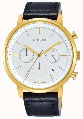 Pulsar 男士镀金表壳黑色皮表带日期计时码表 PT3938X1