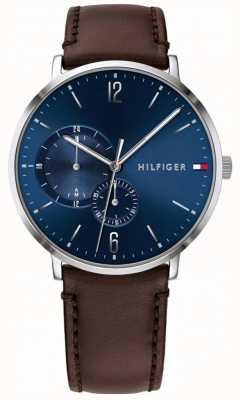 Tommy Hilfiger 男士蓝色表盘棕色皮表带 1791508