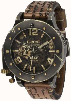 U-Boat U-42 unicum复古外观自动棕色皮革表带 8188