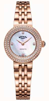 Rotary 女士kensington水晶玫瑰金手链表 LB05374/41