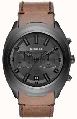 Diesel 男士不倒翁灰色计时码表棕色皮革表带手表 DZ4491