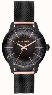 Diesel 女式卡斯蒂利亚黑色和玫瑰金手表网状手链 DZ5577