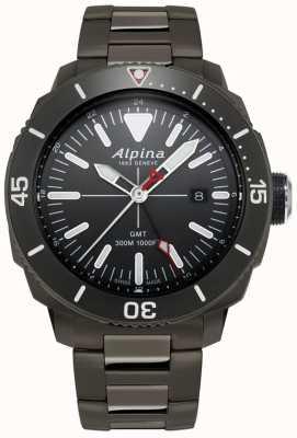 Alpina 男士seastrong潜水员gmt手表与黑钛涂层 AL-247LGG4TV6B