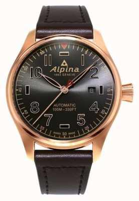 Alpina 男士startimer飞行员自动棕色表盘棕色皮革 AL-525GG4S4