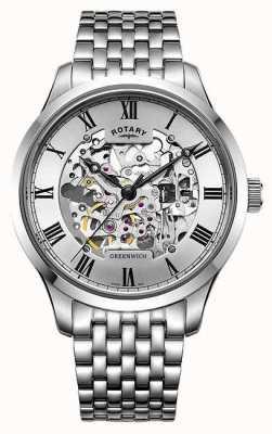 Rotary 男士格林威治不锈钢手链骷髅手表 GB02940/06