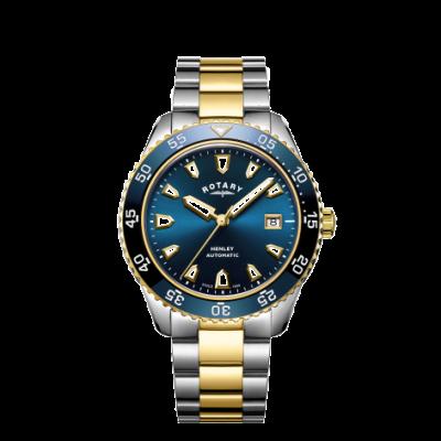 Rotary 男士亨利自动双色手镯蓝色表盘 GB05131/05