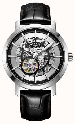 Rotary 男士格林威治黑色皮革表带镂空腕表 GS05350/02