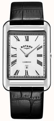Rotary 男士剑桥日期方形黑色皮表带 GS05280/01