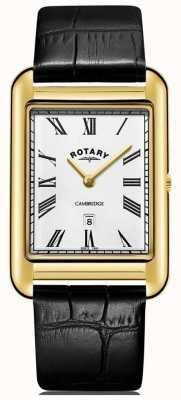 Rotary 男士剑桥日期金色方形表黑色皮表带 GS05283/01