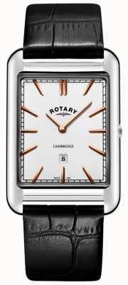 Rotary 男士剑桥日期方形黑色皮革表带 GS05280/02