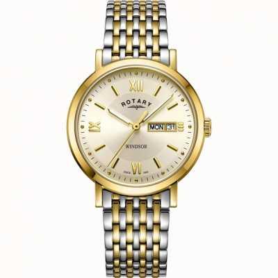 Rotary 男士温莎手表|双色不锈钢表带| GB05301/09