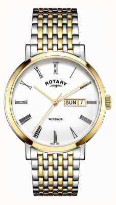 Rotary 男士windsor双色银色和金色手表 GB05302/01