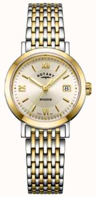 Rotary 女式温莎双色金银手镯表 LB05301/09