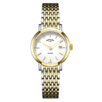 Rotary 女式温莎双色金银手镯表 LB05302/01