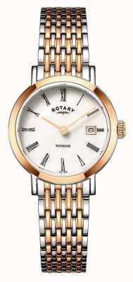 Rotary 女式温莎双色玫瑰金和银手镯表 LB05302/01