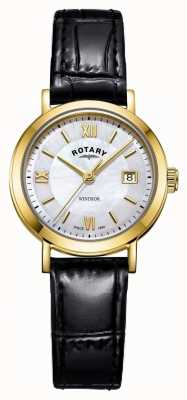 Rotary 女士温莎珍珠贝母表盘黑色皮表带 LS05303/41