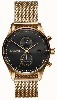MVMT 旅行者日食|镀金网状手链|黑色表盘 D-MV01-G2
