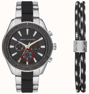 Armani Exchange 男士enzo运动计时码表手表广告手链礼品套装 AX7106