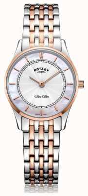 Rotary 女式超薄双色手镯珍珠贝母表盘 LB08302/02