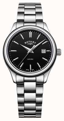 Rotary 女士牛津不锈钢表链黑色日期表盘 LB05092/04