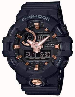 Casio G-shock模拟数字海军蓝橡胶玫瑰金表 GA-710B-1A4ER