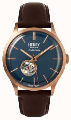 Henry London Heritage男士自动棕色皮革表带海军表盘 HL42-AS-0278