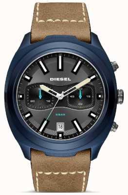 Diesel 男士不倒翁蓝色表壳棕色皮革表带手表 DZ4490
