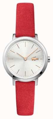 Lacoste 月亮小红色皮革表带银色表盘 2001048