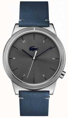 Lacoste 运动蓝色皮革表带灰色表盘 2010989