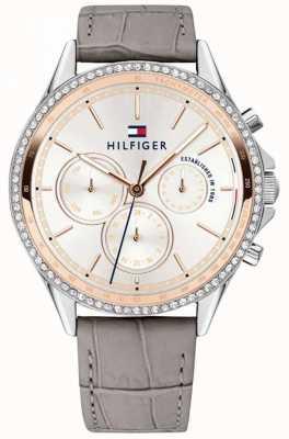 Tommy Hilfiger 女式灰色皮革表带水晶套装多功能 1781980