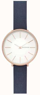 Skagen 女士卡罗来纳蓝色皮革表带玫瑰金表壳手表 SKW2723