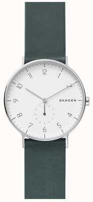 Skagen 男士aaren绿色皮革表带手表 SKW6466