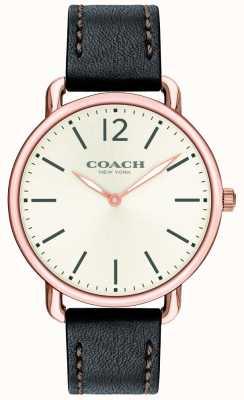 Coach 男士delancey超薄手表白色表盘黑色皮革表带 14602347