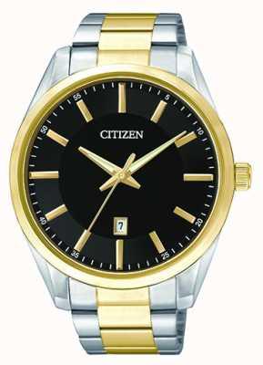 Citizen 男士石英黑色表盘|双色不锈钢表带| BI1034-52E