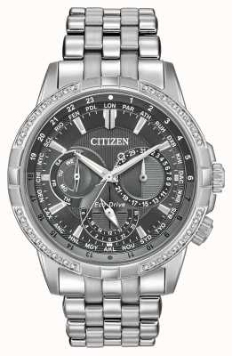 Citizen Eco-Drive Calendrier不锈钢32钻石灰色表盘 BU2080-51H