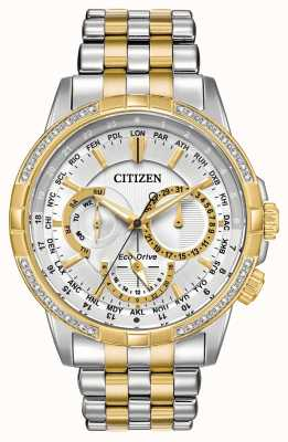 Citizen 男士calendrier eco-drive双色调32钻银色表盘 BU2084-51A