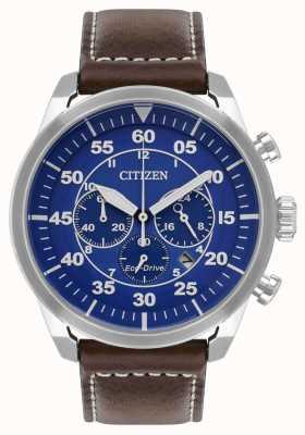 Citizen 男士Avion生态驱动蓝色表盘棕色皮革表带WR100 CA4210-41L