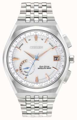 Citizen 男士Wave satellit eco-drive不锈钢金色IP口音手表 CC3020-57A