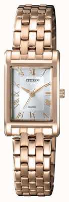Citizen 女式石英镀金矩形表壳银色表盘 EJ6123-56A