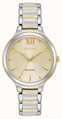 Citizen 女式生态驱动双色金表盘wr50 EM0554-82X