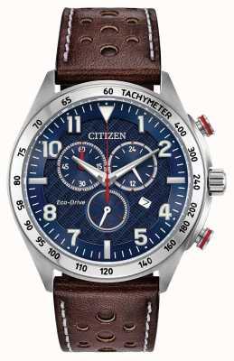 Citizen 男士生态驱动蓝色表盘棕色皮革计时100米 AT2418-00L