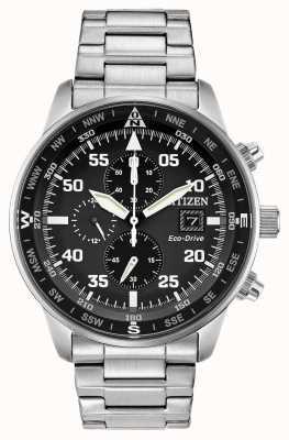 Citizen 男士飞行员生态驱动黑色表盘不锈钢计时100米 CA0690-53E
