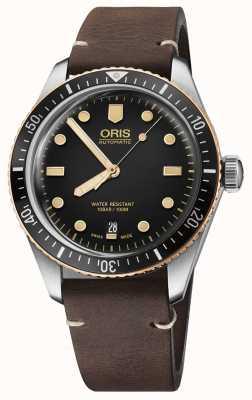 Oris 潜水员六十五棕色皮革表带 01 733 7707 4354-07 5 20 55