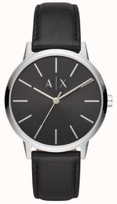 Armani Exchange Cayde男士黑色真皮表带黑色表盘 AX2703