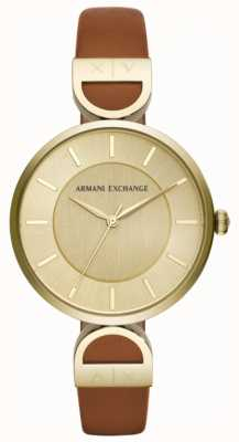 Armani Exchange Brooke女式棕色皮表带 AX5324